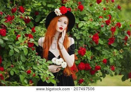 Redhead fashion woman with very long hair with unusual fashion appearance in black fashion dress against background of red roses. Attractive fashion girl with pale skin and bright fashion appearance with black hat and red veil. Art fashion photo