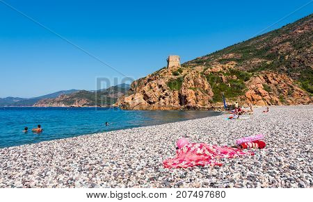 Small Corsica beach in nature park Scandola