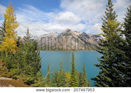 Lake Minnewanka in Banff national park in autumn time