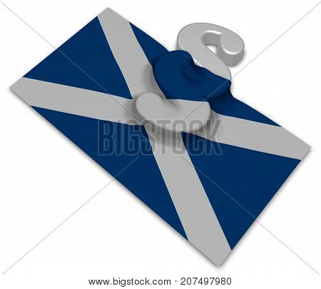 paragraph symbol and flag of scotland - 3d rendering