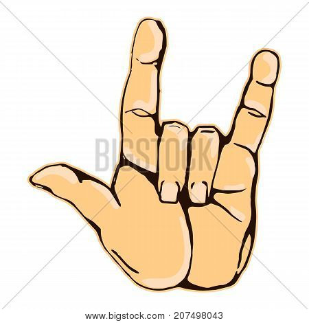 Vector colorful illustration of a human hand sign rock n roll isolated on white background. Can be used for web poster info graphic.