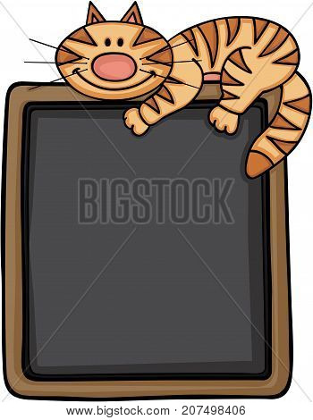 Scalable vectorial image representing a happy cat with blackboard background, isolated on white.