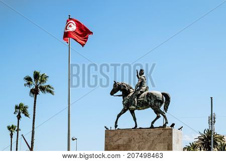Sousse.Tunisia.May 29 2017.The square with the monument to Habib Bourguiba near Medina