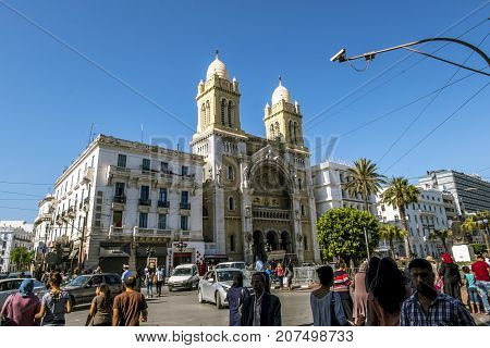 Tunisia.Tunisia.May 25 2017.Catholic Cathedral of St Vincent de Paul in the capital of Tunisia