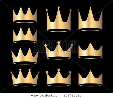 Gold crowns set for heraldry design isolated on black background.