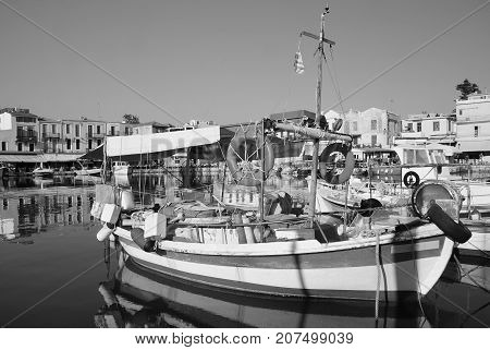 Old boat in the Old Port of Rethymno Greece