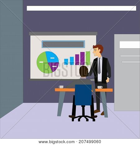 Employer interviewing a young male job seeker for a business vacancy sitting at a table reading his CV. Job interview concept illustration vector.