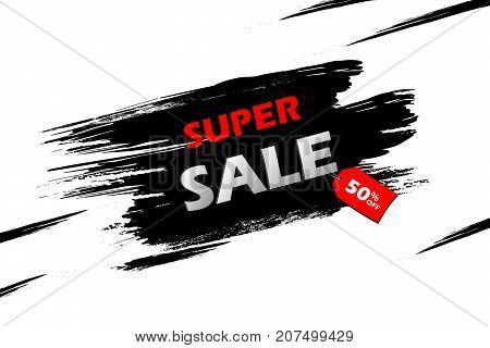 Super Sale With Red Tag On A Black Grunge Smear, Brush Strokes Isolated Over White Background. Black