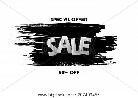 Special offer sale On a black grunge smear brush strokes Isolated over white background. Black and White 50 Off Sale vector. Special Offer template for your banner or poster. Sale and discount.