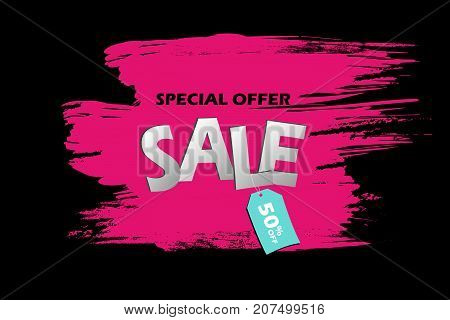 Special Offer Sale Banner. Pink Grunge Brush Stroke On A Black Background With Blue Tag With An Insc