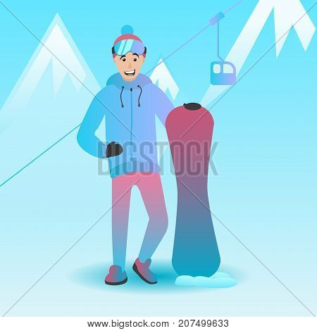 Vector illustration of a snowboarder. Male character holding snowboard. Man with extreme sports equipment. Winter landscape and ski resort.