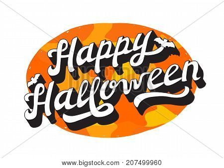 White 3D Effect Hand Drawn Lettering Happy Halloween with Shading. Logo Vector Illustration on Orange Abstract Background.