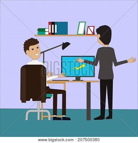 Senior and junior businessman discussing at the table together with computer. Businesspeople analysing graphs, charts and diagrams on PC screen concept illustration vector.