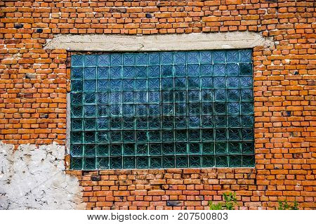 close-up view of big window of shaped glass