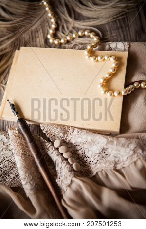 Vintage background with copy space condolence and memories concept