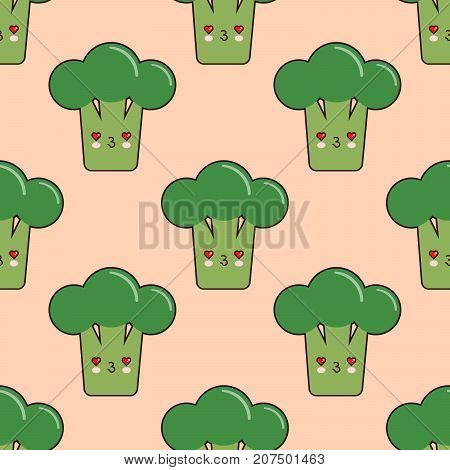 Vector seamless pattern with cute cartoon broccoli on pink background. Vector vegetable emoticon. Vector broccoli with smiley face. Vector illustration.