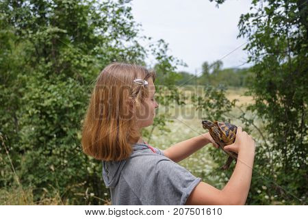 Girl hold the turtle on pakm. girl explores the turtle. friendship with animals. saving turtles