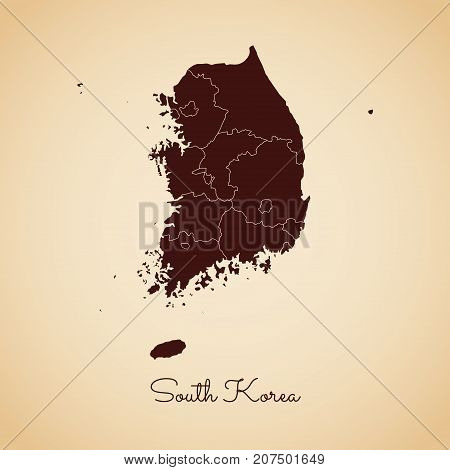 South Korea Region Map: Retro Style Brown Outline On Old Paper Background. Detailed Map Of South Kor