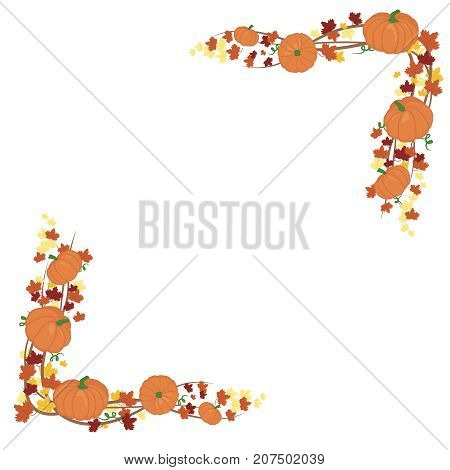 Orange pumpkins border design. autumn vector orange pumpkins template for farm market banners and thanksgiving day backgrounds. vector Pile of orange pumpkins frame or border isolated on white background