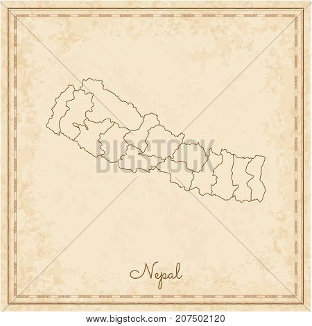 Nepal Region Map: Stilyzed Old Pirate Parchment Imitation. Detailed Map Of Nepal Regions. Vector Ill