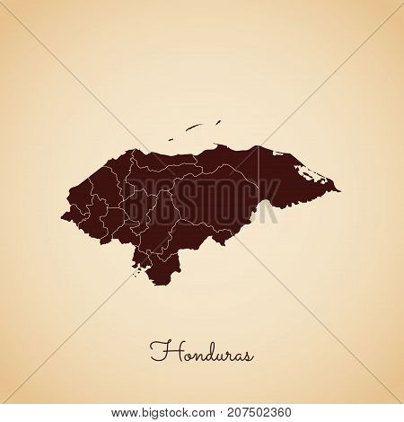 Honduras Region Map: Retro Style Brown Outline On Old Paper Background. Detailed Map Of Honduras Reg