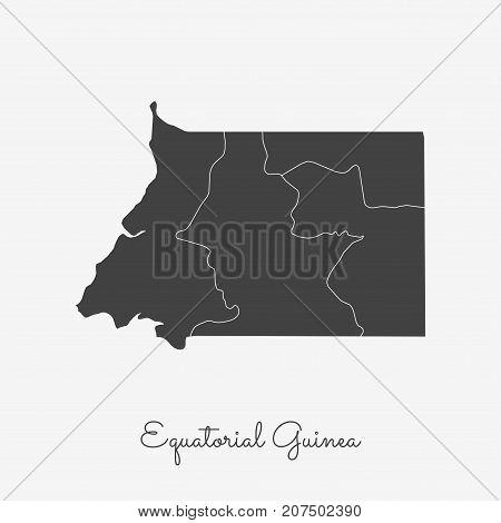 Equatorial Guinea Region Map: Grey Outline On White Background. Detailed Map Of Equatorial Guinea Re