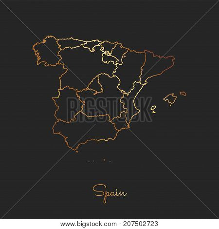 Spain Region Map: Golden Gradient Outline On Dark Background. Detailed Map Of Spain Regions. Vector