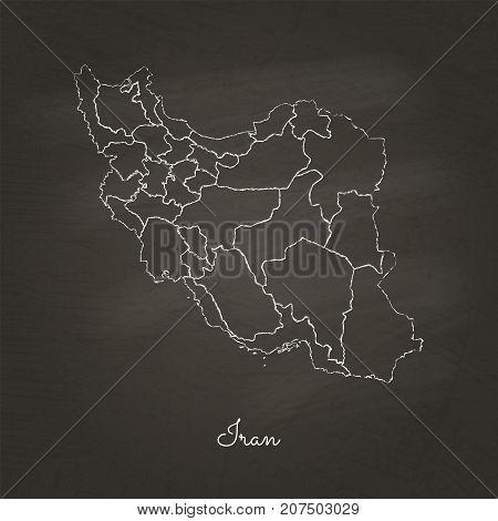 Iran Region Map: Hand Drawn With White Chalk On School Blackboard Texture. Detailed Map Of Iran Regi