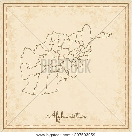 Afghanistan Region Map: Stilyzed Old Pirate Parchment Imitation. Detailed Map Of Afghanistan Regions