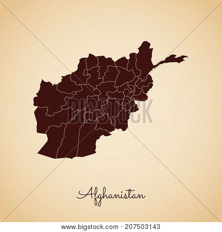 Afghanistan Region Map: Retro Style Brown Outline On Old Paper Background. Detailed Map Of Afghanist