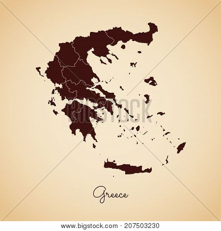 Greece Region Map: Retro Style Brown Outline On Old Paper Background. Detailed Map Of Greece Regions