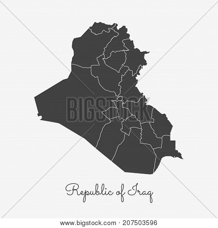 Republic Of Iraq Region Map: Grey Outline On White Background. Detailed Map Of Republic Of Iraq Regi