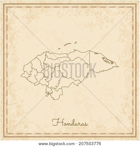 Honduras Region Map: Stilyzed Old Pirate Parchment Imitation. Detailed Map Of Honduras Regions. Vect