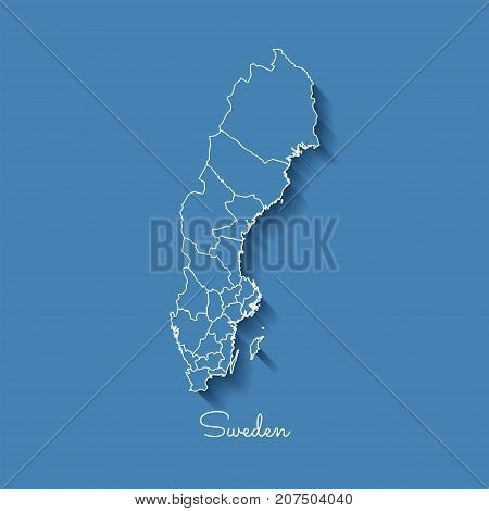 Sweden Region Map: Blue With White Outline And Shadow On Blue Background. Detailed Map Of Sweden Reg