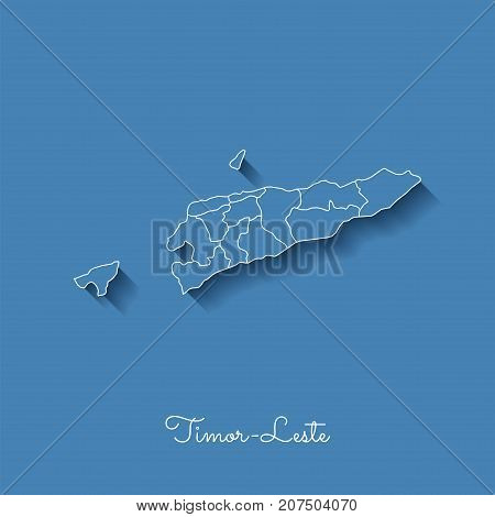 Timor-leste Region Map: Blue With White Outline And Shadow On Blue Background. Detailed Map Of Timor