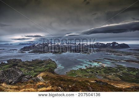 Lofoten islands. A view of the western part of the islands, Taken from Mt Gjuratinden.