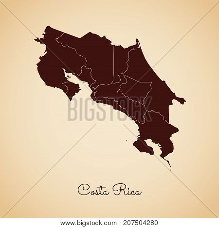 Costa Rica Region Map: Retro Style Brown Outline On Old Paper Background. Detailed Map Of Costa Rica