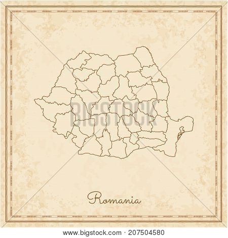 Romania Region Map: Stilyzed Old Pirate Parchment Imitation. Detailed Map Of Romania Regions. Vector