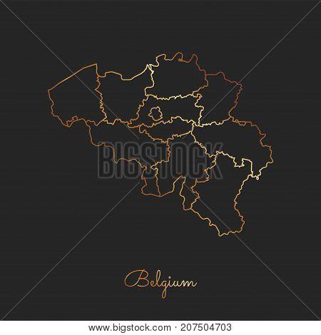 Belgium Region Map: Golden Gradient Outline On Dark Background. Detailed Map Of Belgium Regions. Vec