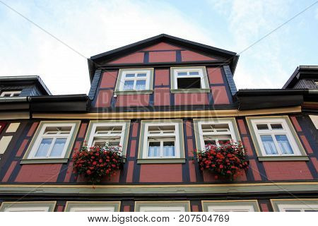 Truss building in red an old house in Germany