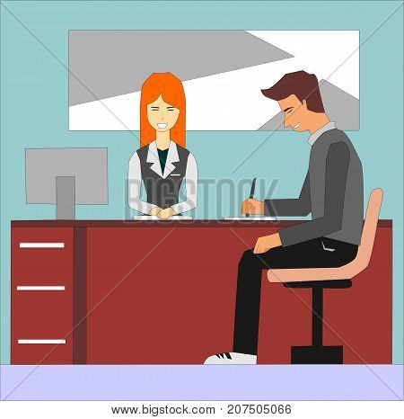 Woman receptionist and businessman signing at office reception desk. Woman administrator and the client on the visitor reception concept illustration vector.