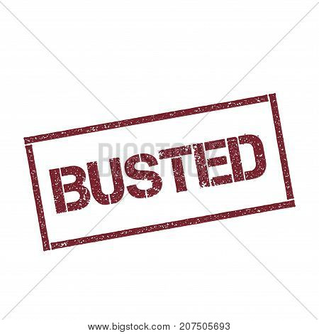 Busted Rectangular Stamp. Textured Red Seal With Text Isolated On White Background, Vector Illustrat