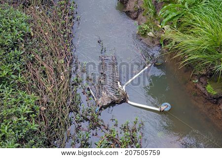 River and water stream pollution in New Zealand. Environmental pollution concept. Copy space