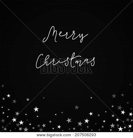Merry Christmas Greeting Card. Random Falling Stars Background. Random Falling Stars On Black Backgr
