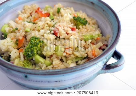 Bulgur Salad Served In A Clay Bowl