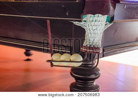 A Bowl With Balls Of A Billiard Table. Billiard Table In The Room.
