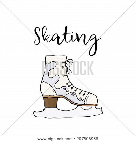 Skate Icon. Simple Illustration Of Skate. Colored Vector Isolated On White