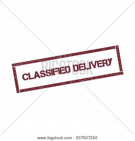 Classified Delivery Rectangular Stamp. Textured Red Seal With Text Isolated On White Background, Vec