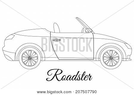 Roadster car body type outline vector illustration