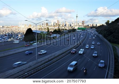 Rush Hour Traffic In Auckland New Zealand